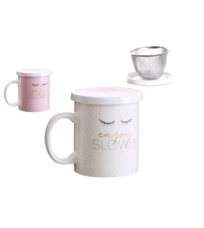 Taza con filtro y tapa Enjoy Slowly
