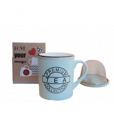 Taza cerámica con filtro y tapa Premium
